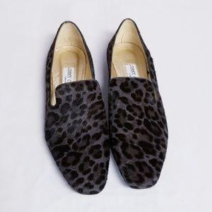 Jimmy Choo Brown Leopard Print Ponyhair Flats